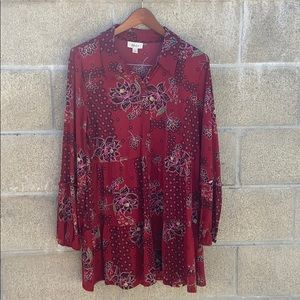 Style & co button up floral peasant boho blouse